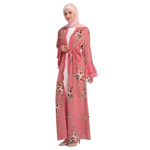 Muslim Print Chiffon Abaya Floral Full Dresses Cardigan Kimono Long Robe Gowns Vestidos Middle East Ramadan Turkish Islamic