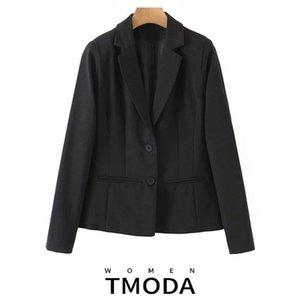 Женские костюмы Blazers TMODA1736 2021 летние осенние женские моды прилив пальто с длинным рукавом черный однобортный пиджак свободный простая куртка Fe