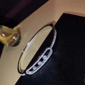 Brand 100% 925 Sterling Silver Move Bracelet 3 Moving Stone For Women Girls Rose Gold Bracelete Masculino France Jewelry Bangle