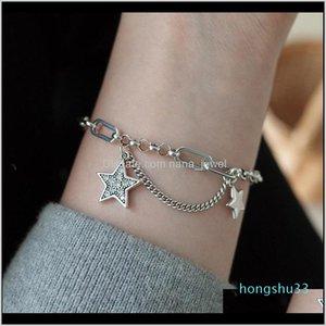 925 Flash Diamond Star Chain INS Womens Simple Sense Senseries Senseries Texture FT7BJ Charm Bracelets 7YBHF