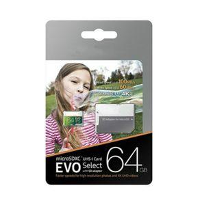 DHL delivery 8GB 16GB 32GB 64GB 128GB 256GB Actual capacity EVO Select micro sd card smartphone SDXC Storage card SDXC TF card camera memory card 100MB S