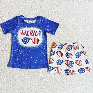 أزياء أطفال مصمم الملابس الصيف مجموعات الأولاد بوتيك الملابس الرابع من يوليو الاستقلال يوم طفل تتسابق السراويل الحليب الحرير لينة الجملة الأطفال الزي