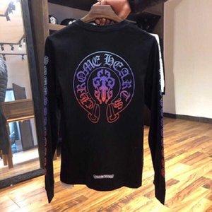 Horseshoe Crosin Long Couleur Manches 2020 Mode Pull de marque Hommes et Femme Même impression T-shirt pure en coton de couple lâche