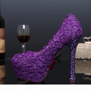 Fashion 2019 Purple Lace Flower Wedding Shoes Evening Party High Heels Women Genuine Leather Pumps Bridal Shoes Plus Size 43