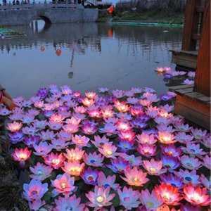 Party Decoration Floating Water Blessing Artificial Silk Lotus Flower Candle Light Multi Colors Wishing Lantern For Wedding Event Supplies