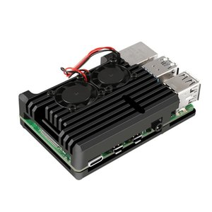 Raspberry Pi 4 4B Aluminum Heat Radiator Dual Cooling Fan Aluminium Alloy Protection Cases For RPI 4 4B Laptop Pads