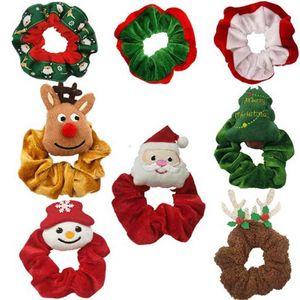 Christmas girls hair circle velvet flannel Santa elk xmas tree scrunchies hairband scrunchy ponytail holder hair tie elastic circle headdress ornament H914I7W7
