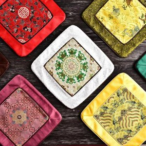 Chinese Dining Table Mat Patchwork Luxury Vintage Square Insulation Pad Natural Mulberry Silk Placemats Wholesale HHF6345