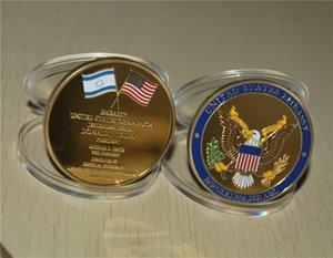 Jerusalem USA Ambassy Donald Trump Challenge Pièce commémorative, Badge plaqué or 24k 2PCS / Lot Hotsales américaines