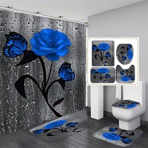 Floral Bath Mat and Shower Curtain Set Shower Curtain with Hooks Bath Rugs Anti Skid Bathroom Carpet Toilet Foot Pad Bath Mat 1229 V2
