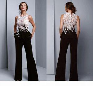Womens Jumpsuit Elegant Formal Evening Dresses 2021 White Lace Black Pantsuits See Though Top Prom Bridesmaid Party Dress Plus Size Pant