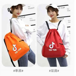 TikToK Letters Printed Unisex Pocket Shoulder Pack Drawstring Bags Tiktok Fashion Travel Backpack Large Capacity Women Men Fitness Bags G4T6GF9
