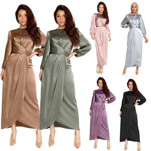 Простые мусульманские платья женщины Дубай Abaya Турция Сатин хиджаб кафтан длинные платья исламская одежда Vestidos Largos халат Longue Femme