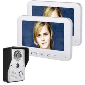 Inch LCD 2 Monitors Video Door Phone Doorbell Intercom Kit 1-camera 2-monitor Night Vision With IR-CUT HD 700TVL Camera Phones
