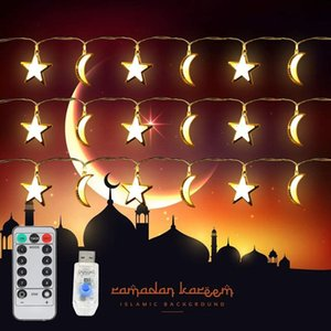 USB Powered Moon and Star led String lighting Muslim Islamic Style Warm White 5 Meter 20 LEDs 8 Lights