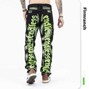 Company Ranch New White Letter Boardwork Black Jeans For Men 2021 In Broken Street Jean Homme Endless Denim Broek Moto trouser