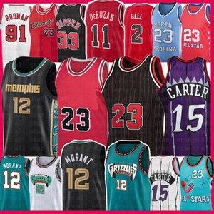 Ja 12 Morant 23 Винс 15 Картер Баскетбол Джерси Скотти 33 Pippen Dennis 91 Родман Демар 11 Деразан Лонцо 2 мяч Ретро Сетка Джерси 2021 Мужская молодость детей Взрослый