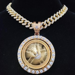Pendant Necklaces Men Hip Hop Iced Out Bling Rotatable Necklace 13mm Crystal Cuban Chain Hiphop Fashion Charm Jewelry