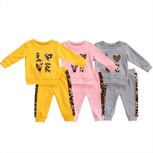 Infant Kids Baby Spring Autumn Shirt, Jogger Pants Suit, Love Leopard Printed Pearls Round Neck Long Sleeve Girl Trousers