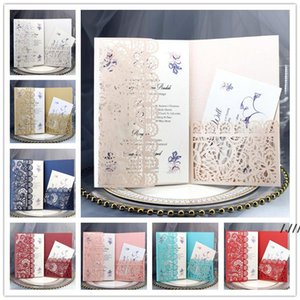 Personalized Wedding Invitation Cards Full Set Laser Cut Hollowed-out Pocket Greeting Cards For Engagement Birthday Party Wedding DWC7611