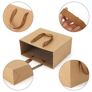 Pieces Kraft Paper Shopping Bag Gift Bag, Brown With Widened Fabric Handle Horizontal Sectio Wrap