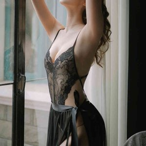 Factory6C0WBeauty New Sexy Pajamas for Women Back Suspenders Lingerie Transparent Embroidery Tunic Bowknot Lace Bodysuit