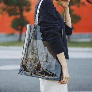 Gift Wrap Casual Style Totes Women PVC Handbags Transparent Beach Bags Summer Shopping Ladies Shoulder Bag Open Handbag Black Blue