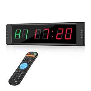 Настенные часы Программируемое дистанционное управление Светодиод СИД CrossFit Таймер Интервал Гараж Спортивные тренировочные часы тренажерный зал