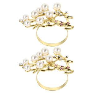 Table Napkin 2pcs Exquisite Christmas Ring Diamond And Pearl Deer Shape Serviette