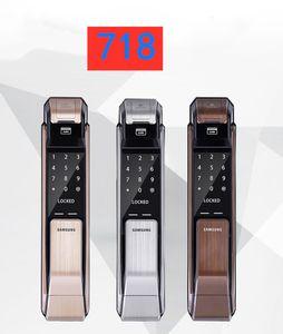 SAMSUNG SHS-P718 Keyless Lock Gold silver Fingerprint PUSH PULL Two Way Digital Door English Version Big Mortise