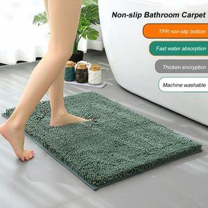 Carpets Chenille Bathroom Mat Soft Shaggy Non-Slip Super Water Absorption Bath Rug Carpet For Bedroom Hallway Entrance 40*60 Cm