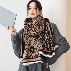 2021 Korean autumn and winter new letter warm scarf women's dual-purpose air conditioning shawl student Bib windproof outside
