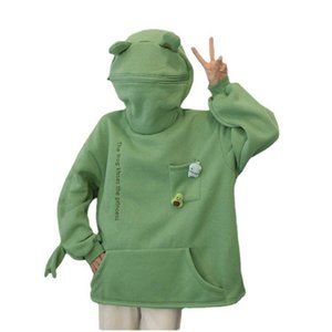 Springtime Embroidery Frog oversized Sweatshirt men and women's Hoodies Harajuku Warm Pullover Womens Korean Style Hoodie 210910