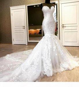 Sweetheart 2020 Plus Size Mermaid Lace Wedding Dresses Beaded Appliques Tulle Long Bridal Dress Chapel Train Wedding Gowns Vestido De Noiva