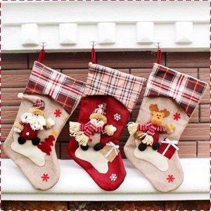 Christmas Hanging Socks Lovely Gift Bag Doll Models Cartoon Santa Claus Snowman Big Stocking Party New Year Supplies CCF6006