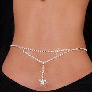 Sexy Strass Schmetterling Bauchkette Silber Körper Schmuck für Frauen Strand Bikini Cystal Taille Kette Untere Zurück Kette 1024 Q2