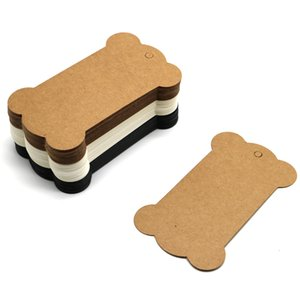 100pcs lot 6.2x10.5cm Brown Paper Cards Blank Kraft Clothing Price Tags Jewelry Gifts Hang Tags Bone Shape Label Cards