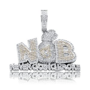 "Iced Out Cubic Zircon Letter Money Bag Pendant 24"" Stainless Steel Rope Chain For Men Fashion Hip Hop Rapper Jewelry Gift Necklaces"
