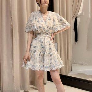 Платья уличного стиля Австралия Цим Весна и лето V-образным вырезом разжиганный рукав Полая вышивка цепь звена Цветочное платье талии E7MH