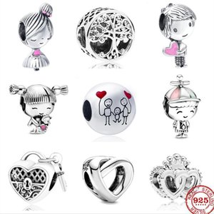 cute boy and girl Sterling Silver Bead forever family tree lock heart Beads fit Original Pandora Charms Bracelet DIY Women Jewelry