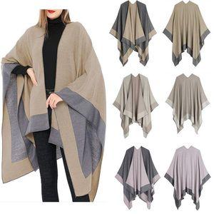 Wraps & Jackets Wedding Bolero 3 Style Solid Color Winter Warm Plaid Ponchos Shawl Imitation Cashmere Split Padded Cloak Female Bufanda Muje