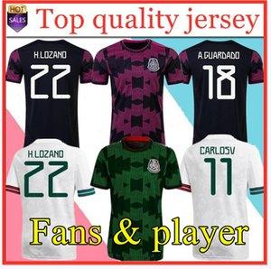 Fans Spielerversion Mexiko Fußball-Jerseys Copa America Camisetas 20 21 Chicharito Lozano dos Guardado 2021 Fußballhemden Männer + Kinder Sets Kit