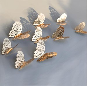 Home Decor 12pcs set Rose golden 3D Hollow Butterfly Wall Sticker Butterflies stickers Room Party Wedding Decoration
