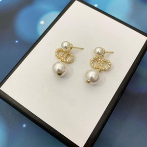 Designer Fashion Womens Drop Dangle Ear Stud 18K Gold Plated Crystal Pearl Cubic Zirconia Letter Earrings Alloy Wedding Accessories With Original box