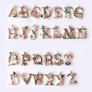 26 English Letters Charms Pendants Jewelry DIY Drop Oil Alloy Flower Art Bracelets Components Women Men Charm Fashion Accessories