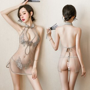 Sexy lingerie hot women underwear intimate nightgown sex products slit uniform female lace perspective embroidery cheongsam suit