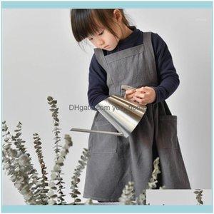 Textiles & Garden Parenting Cute Simple Uniform Children Cooking Aprons For Kids Kitchen Home Gardening Baking Avental Cocina1 Drop Delivery