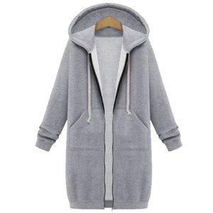 Oversized 2020 Autumn Women Casual Long Hoodies Sweatshirt Coat Pockets Zip Up Outerwear Hooded Jacket Plus Size Tops A0608