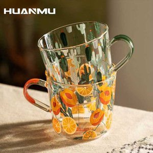 500ml Glass Cup Milk Coffee Espresso Cute Print Yellow Peach Cactus Tea Cups With Scale Mug Party Creative Drinkware Tumbler Wine Glasses