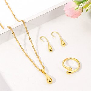 Ethiopian Gold set Jewelry water drop beads Pendant Necklace Earrings ring African Wedding Bride Eritrea Women Party gift 1714 Q2